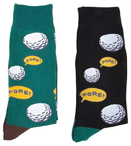 Fine Fit Mens Novelty Trouser Socks 2 Pair Set - Choose Prints (Golf Fore!)