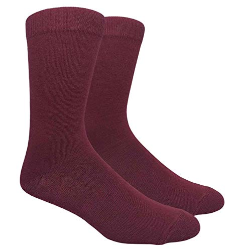 Novelty Fun Crew Print Socks for Dress or Casual (Solid Burgundy #130BUR)