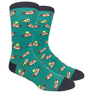 Crew Socks for Dress Casual (Hot Dogs & Mustard - Green)