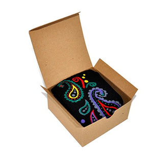 Novelty Socks 1 Pair in Small Gift Box (Paisley - Black)