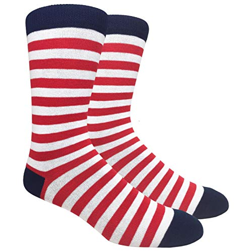 Tango11s Chckered World Men Cave Trouser Novelty Fun Crew Print Socks for Dress or Casual (Stripe White/Red #SDB3)
