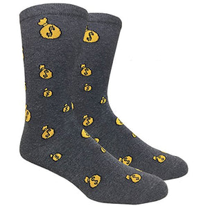 Fine Fit Men's Novelty Fun Crew Socks for Dress Casual (Money Bag)