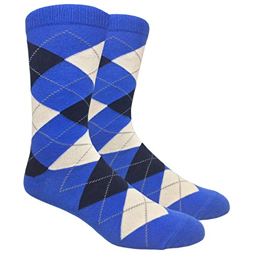 Tango11s Chckered World Men Cave Trouser Novelty Fun Crew Print Socks for Dress or Casual (Argyle Blue #ADB4)