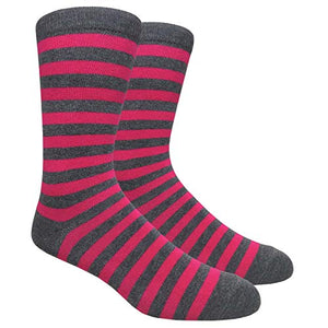 Tango11s Chckered World Men Cave Trouser Novelty Fun Crew Print Socks for Dress or Casual (Stripe Char/Fuschia #SDB8)