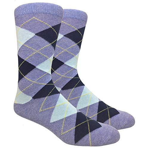 Tango11s Chckered World Men Cave Trouser Novelty Fun Crew Print Socks for Dress or Casual (Argyle Heather Blue #ADB11)