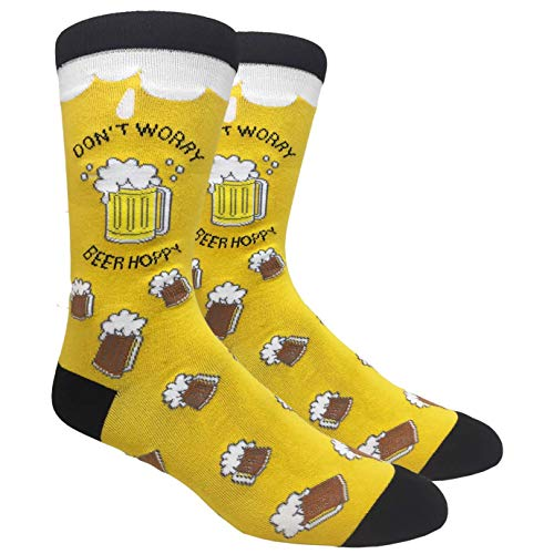 Tango11s Chckered World Men Cave Trouser Novelty Fun Crew Print Socks for Dress or Casual (Beer Hoppy Yellow #66)