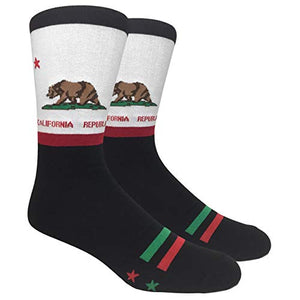Tango11s Chckered World Men Cave Trouser Novelty Fun Crew Print Socks for Dress or Casual (California #64)
