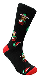 Men's Black Spicy Chili Peppers Sombrero Mariachi Mexican Food Crew Dress Socks