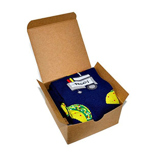 Themed Patterned Men's Novelty Crew Socks 1 Pair in Small Gift Box (The Taco Stand - Navy Blue)