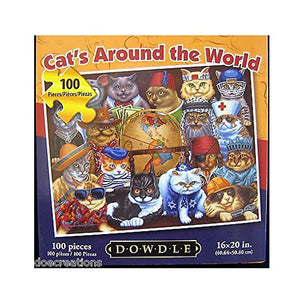 Dowdle Jigsaw Puzzle - Cat's Around The World - 100 Piece