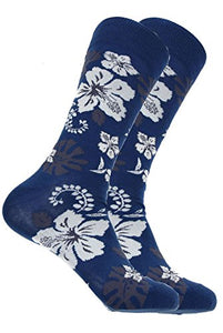 Mens Designer Hawaiian Flower Cotton Socks