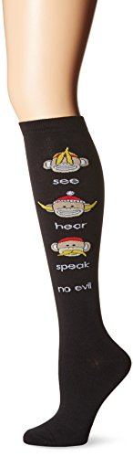 K. Bell Women's Original Series Novelty Knee High Socks, See, Hear, Speak (Black), Shoe Size: 4-10