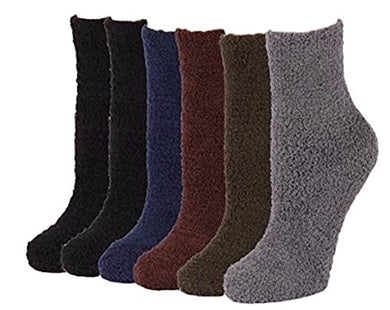 6 Pairs of Super Soft Non-Skid or No Non-Skid Fuzzy Slipper Socks (O/S, Plain)
