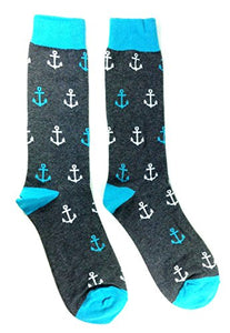 Novelty Fine Fit Crew Socks - Anchor (Grey & Aqua Anchor)