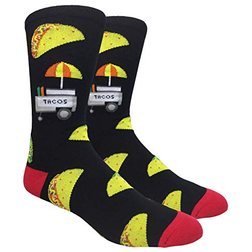 Tango11s Chckered World Men Cave Trouser Novelty Fun Crew Print Socks for Dress or Casual (Tacos Black #3)