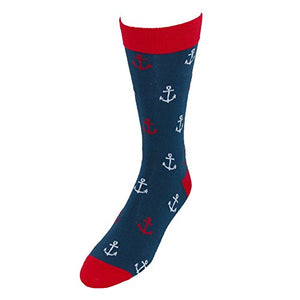Fine Fit Men's Anchor Print Dress Socks, Navy