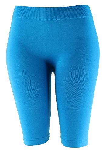 Biker Knee Length Shorts Spandex Yoga Leggings (One Size, Turquoise)