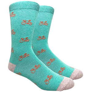 Tango11s Chckered World Men Cave Trouser Novelty Fun Crew Print Socks for Dress or Casual (Bicycle Teal #B009)