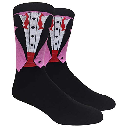 Tango11s Chckered World Men Cave Trouser Novelty Fun Crew Print Socks for Dress or Casual (Groom Pink #15)