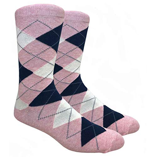 Tango11s Chckered World Men Cave Trouser Novelty Fun Crew Print Socks for Dress or Casual (Argyle Pink #ADB17)