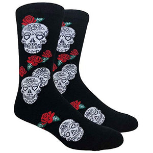 Buy Your Ties SOCKZ-80 - Mens Novelty Skulls and Roses Socks, Black Red Green, One Size