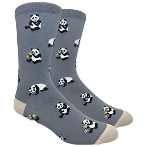 Tango11s Men's Novelty Fun Crew Socks for Dress or Casual - Multiple Patterns in Small Gift Box (Panda Grey, 1)