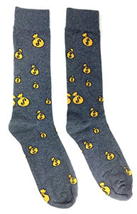 Novelty Fine Fit Crew Socks - Mix Prints (Grey Money Bags)