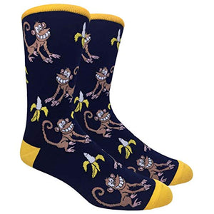 Novelty Fun Crew Print Socks for Dress or Casual (Monkey Banana #18)