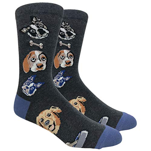 Tango11s Chckered World Men Cave Trouser Novelty Fun Crew Print Socks for Dress or Casual (Dog Lovers Charcoal #78C)