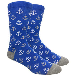 Tango11s Chckered World Men Cave Trouser Novelty Fun Crew Print Socks for Dress or Casual (Anchor Blue #B001)