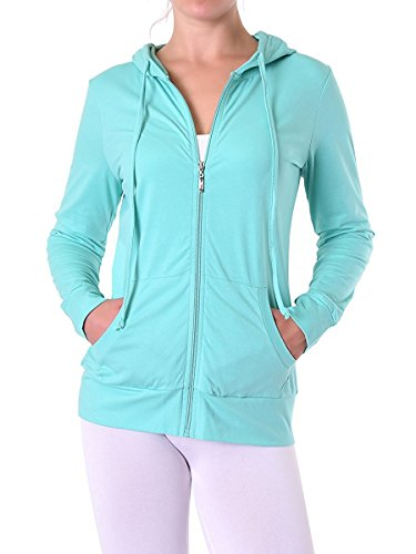 Teejoy Womens Thin Cotton Zip Up Hoodie Jacket L Mint