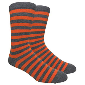 Tango11s Chckered World Men Cave Trouser Novelty Fun Crew Print Socks for Dress or Casual (Stripe Char/Orange #SDB7)