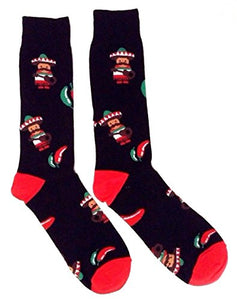 Novelty Fine Fit Crew Socks - Mix Prints (Black Mariachi Chili Pepper)