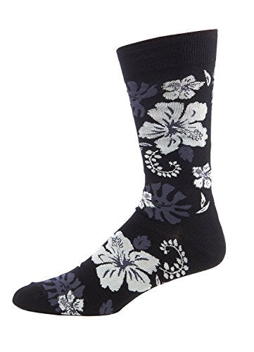 FineFit Man Cave Trouser Socks - One Size, Hibiscus - Black