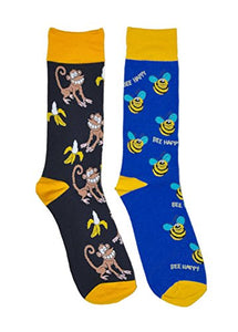 Mens Novelty Trouser Socks 2 Pair Bundle FineFit Themed Pattern (Bees & Monkeys)