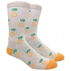 Novelty Fun Crew Print Socks for Dress or Casual (Pineapple Beige #B006)