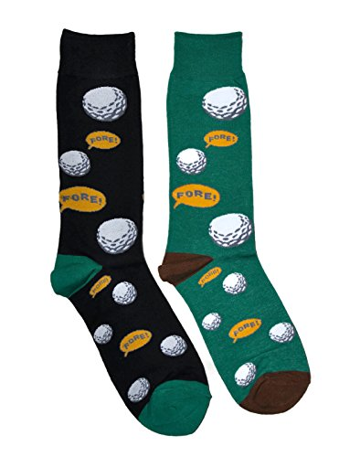 Mens Novelty Trouser Socks 2 Pair Bundle FineFit Themed Pattern (Golf Fore!)