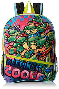 "Teenage Mutant Ninja Turtles Little Girls Keepin It Cool 16"" Backpack, Green/Pink, 16"