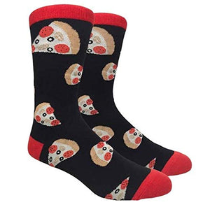 Fine Fit Men's Novelty Fun Crew Socks for Dress Casual (Pizza Pizza - Black & Red)