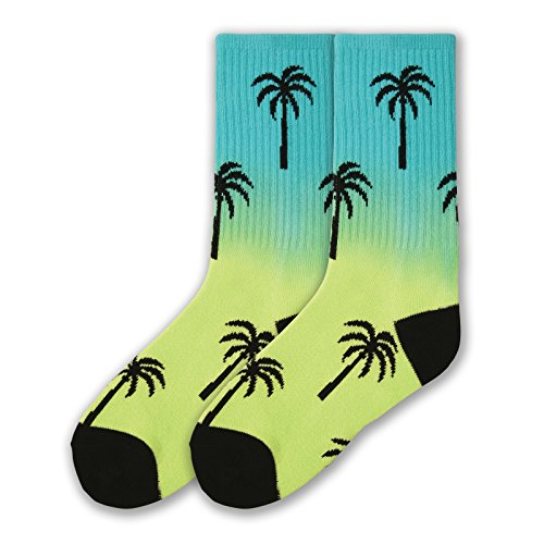 K. Bell Boys' Big Novelty Crew, rainbow palm, Shoe Size: 11-14