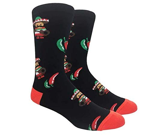 Fine Fit Men's Novelty Fun Crew Socks for Dress Casual (Spicy Chilli Peppers - Black with Red)