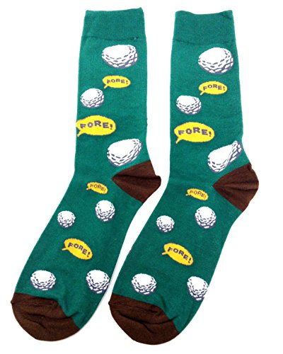 Novelty Fine Fit Crew Socks - Mix Prints (Green Golf Fore!)
