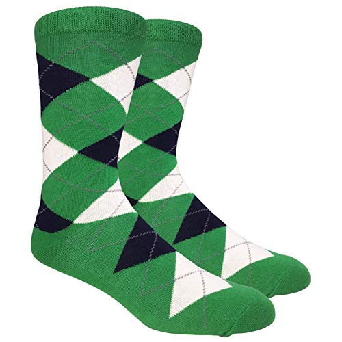 Tango11s Chckered World Men Cave Trouser Novelty Fun Crew Print Socks for Dress or Casual (Argyle Green #ADB7)