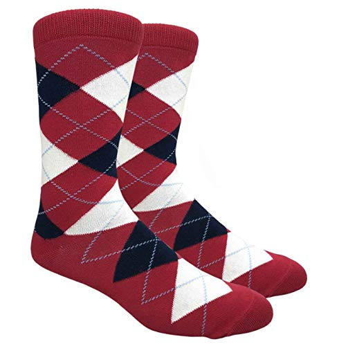 Tango11s Chckered World Men Cave Trouser Novelty Fun Crew Print Socks for Dress or Casual (Argyle Red #ADB18)