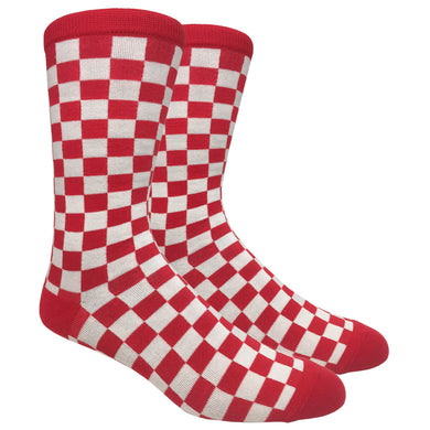 Tango11s Chckered World Men Cave Trouser Novelty Fun Crew Print Socks for Dress or Casual (Checkered Red #71A)