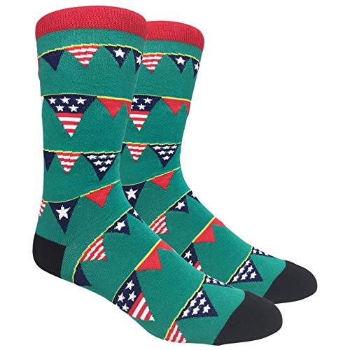 Tango11s Chckered World Men Cave Trouser Novelty Fun Crew Print Socks for Dress or Casual (Stars $ Stripes #8)