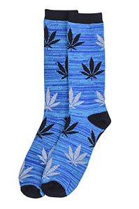 Libero Men's Fashion Crew Novelty Socks (Leaf Blue, 1 Pair)