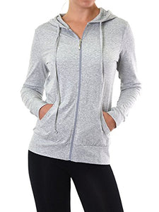 Sofra Women's Thin Cotton Zip Up Hoodie Jacket (XL, Heather Gray)