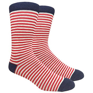 Novelty Fun Crew Print Socks for Dress or Casual (Stripe Thin Red #SDB1)