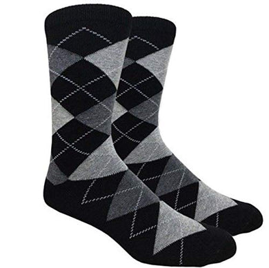 Fine Fit Black Label Men's Dress Socks (Argyle - Black & Grey)